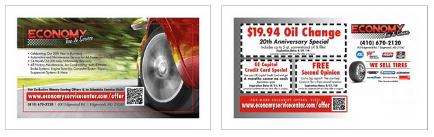 Economy Tire Direct Mail Postcard Example